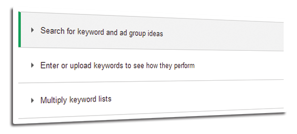Search for Keyword and Ad Group Ideas
