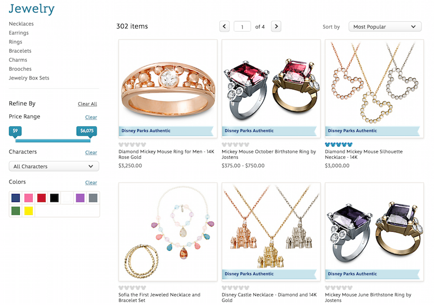 Disney store's e-commerce conversion using 3 items across in category page