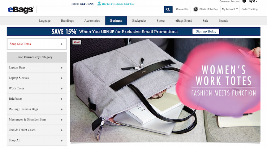 Ebags offering deals and banners on category page for better e-commerce conversion