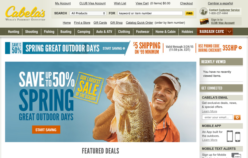 cabela's home page - conversion boosters