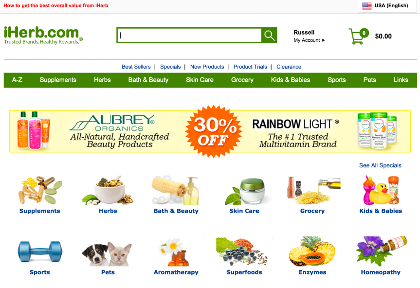 optimized iherb home page