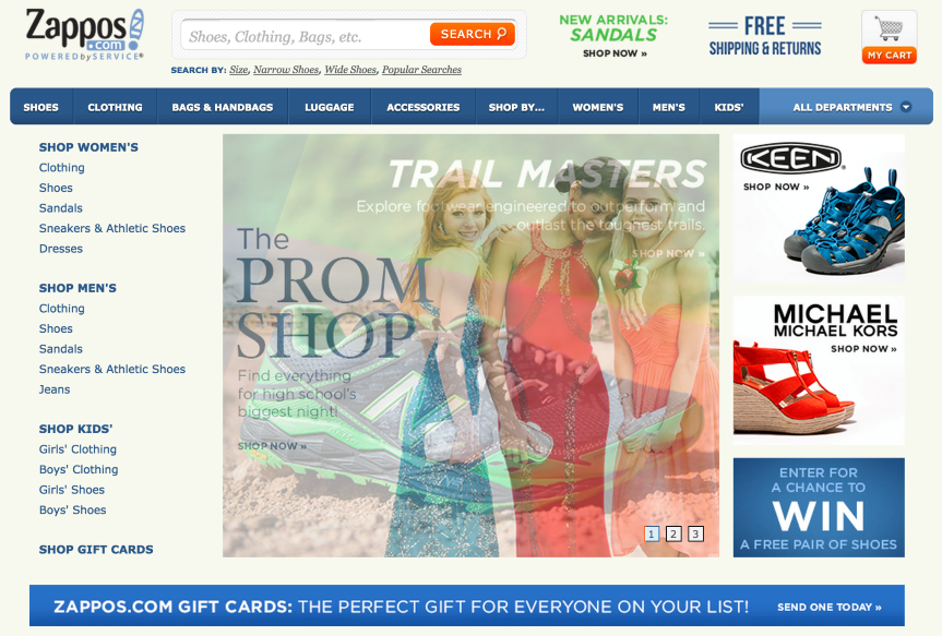 zappos optimized home page