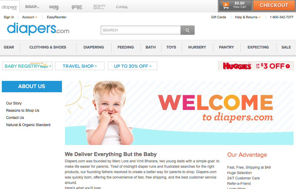 Ecommerce Diapers Site