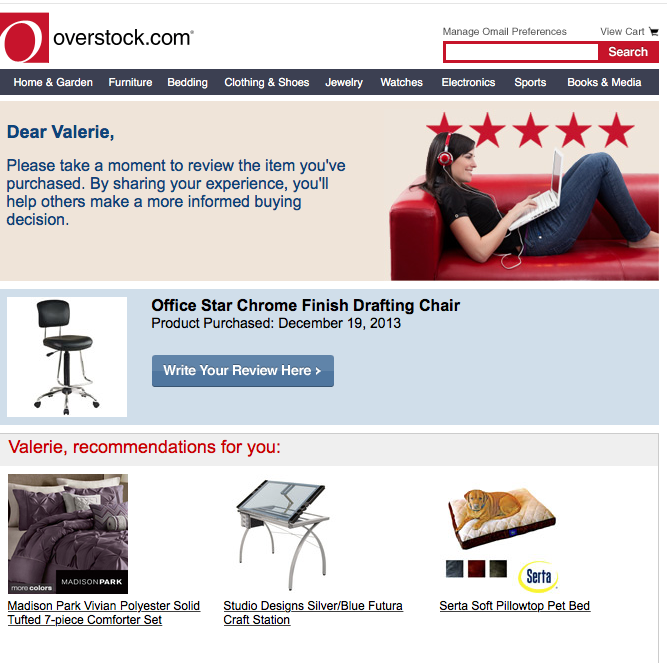 Overstock ecommerce emails