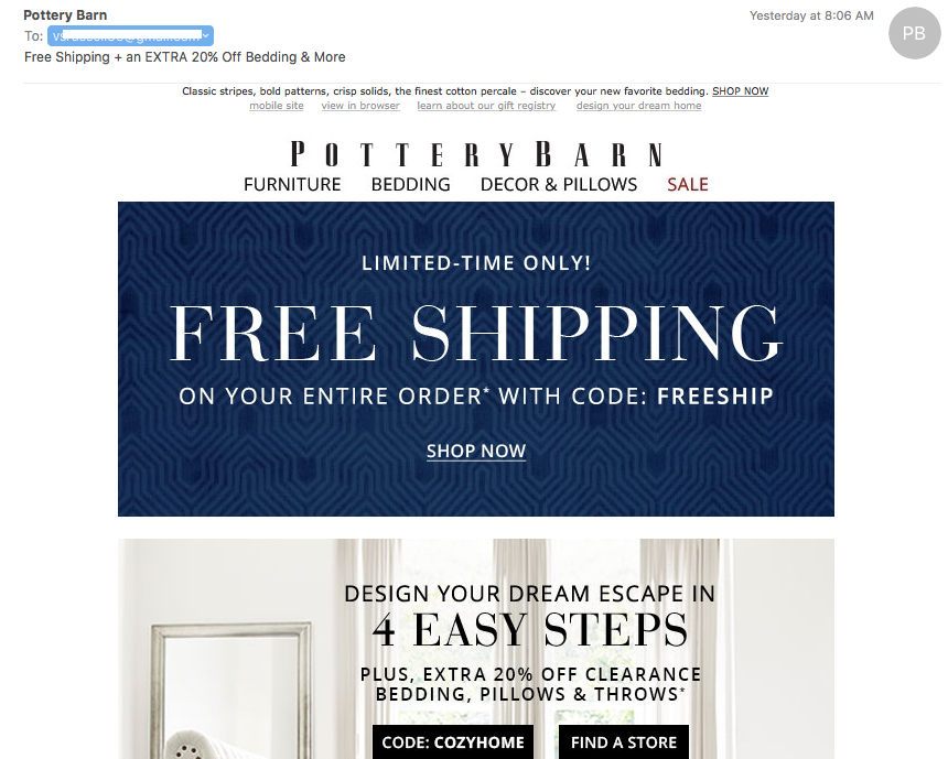Pottery Barn Ecommerce Emails