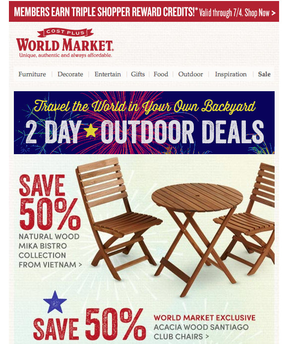 World Market ecommerce email